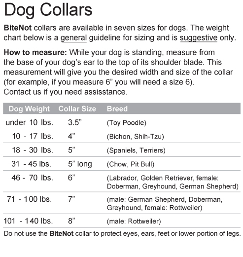 size chart for BiteNot Collars