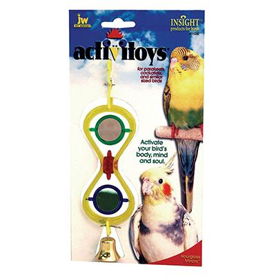 JW Preening Hour Glass Mirror Bird Toy