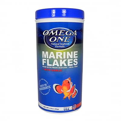 Omega One Garlic Marine Flakes Fish Food 2.2 ounce