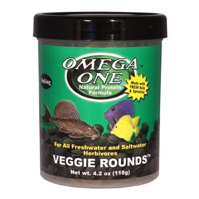 Omega one veggie rounds fish food 4 2 ounce aquar food for Omega one fish food