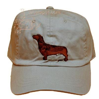 Cap 100% Cotton with Embroidered Dachshund Red