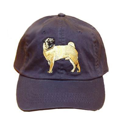 Cap 100% Cotton with Embroidered Pug