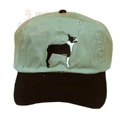 Cap 100% Cotton with Embroidered Boston Terrier