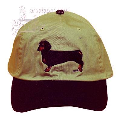 Cap 100% Cotton with Embroidered Dachshund Black