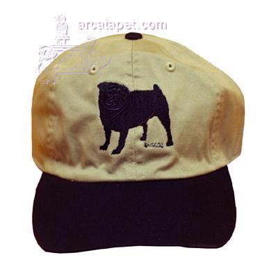 Cap 100% Cotton with Embroidered Pug Black