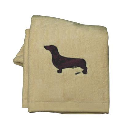 Cotton Terry Cloth Dog Hand Towel with Embroidered Doxie Red