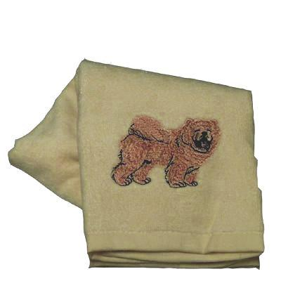 Cotton Terry Cloth Dog Hand Towel with Embroidered Chow Chow