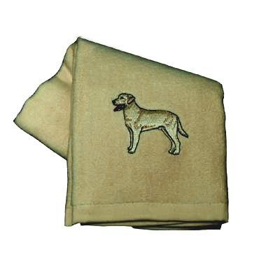 Cotton Terry Cloth Dog Hand Towel w/Embroidered Lab Yellow