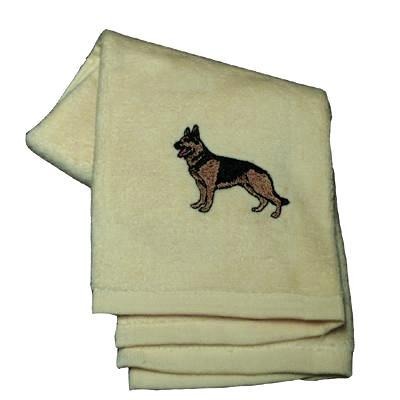 Cotton Terry Cloth Dog Hand Towel with German Shepherd