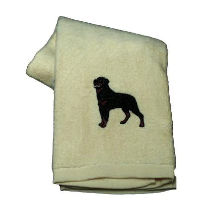 Cotton Terry Cloth Dog Hand Towel w/Embroidered Rottweiler