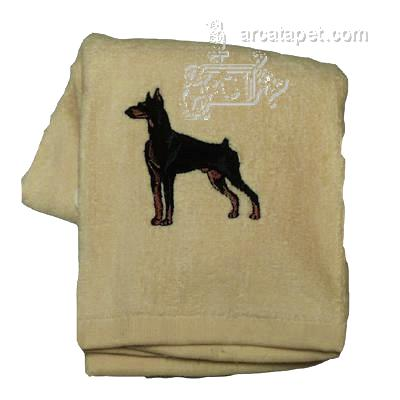 Cotton Terry Cloth Dog Hand Towel with Embroidered Doberman