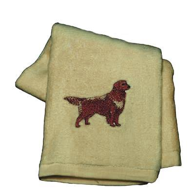 Cotton Terry Cloth Dog Hand Towel with Golden Retriever