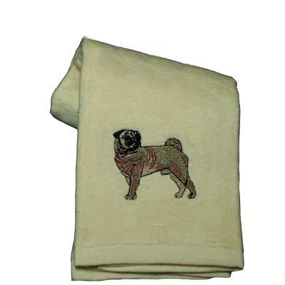Cotton Terry Cloth Dog Hand Towel with Embroidered Pug