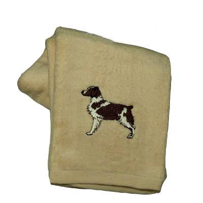 Cotton Terry Cloth Dog Hand Towel with Embroidered Brittany