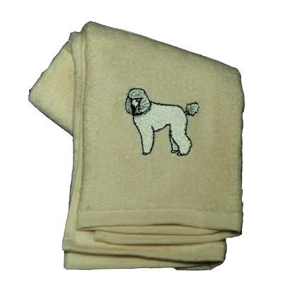 Cotton Terry Cloth Dog Hand Towel w/Embroidered Poodle White