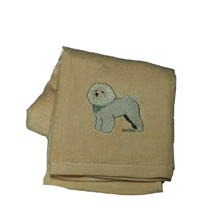 Cotton Terry Cloth Dog Hand Towel with Bichon Frise