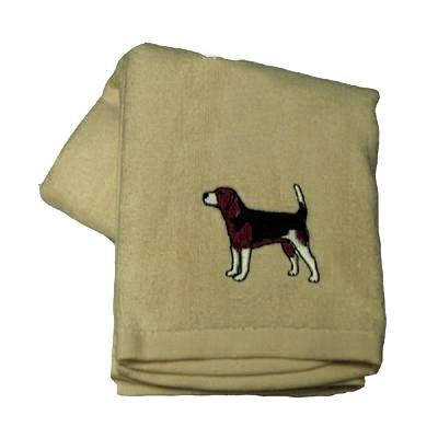 Cotton Terry Cloth Dog Hand Towel with Embroidered Beagle