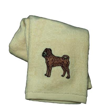 Cotton Terry Cloth Dog Hand Towel with Embroidered Sharpei