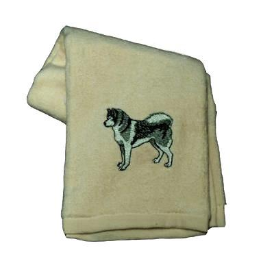 Cotton Terry Cloth Dog Hand Towel with Embroidered Malamute