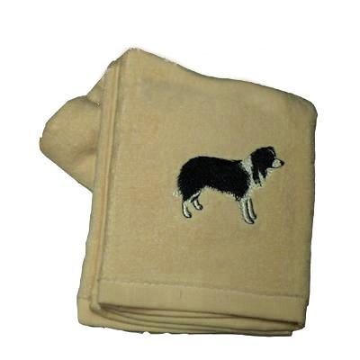 Cotton Terry Cloth Dog Hand Towel with Border Collie