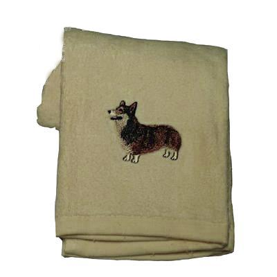 Cotton Terry Cloth Dog Hand Towel with Embroidered Corgi