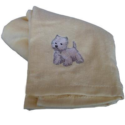 Cotton Terry Cloth Dog Hand Towel with Embroidered Westie