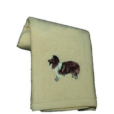 Cotton Terry Cloth Dog Hand Towel with Embroidered Sheltie