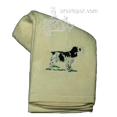 Cotton Terry Cloth Dog Hand Towel with Springer Spaniel