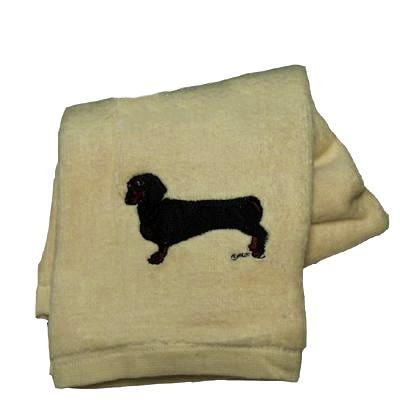 Cotton Terry Cloth Dog Hand Towel w/Embroidered Doxie Black