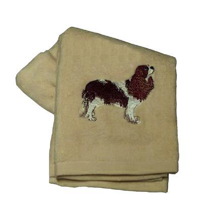 Cotton Terry Cloth Dog Hand Towel with Cavalier Spaniel