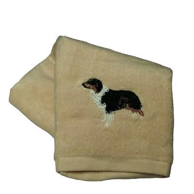 Cotton Terry Cloth Dog Hand Towel with Australian Shepherd