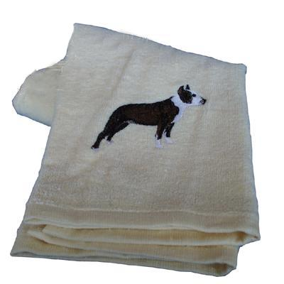 Cotton Terry Cloth Dog Hand Towel with Embroidered Pit Bull