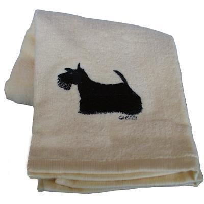 Cotton Terry Cloth Dog Hand Towel with Embroidered Scotty