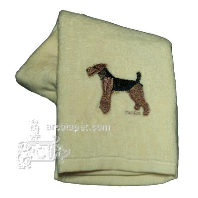 Cotton Terry Cloth Dog Hand Towel with Embroidered Airedale