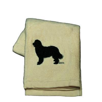 Cotton Terry Cloth Dog Hand Towel w/Embroidered Newfoundland