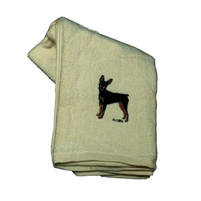 Cotton Terry Cloth Dog Hand Towel with Minature Pinscher