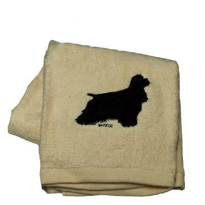 Cotton Terry Cloth Dog Hand Towel w/Embroidered Cocker Black