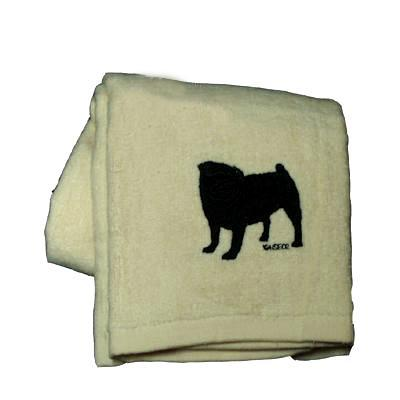 Cotton Terry Cloth Dog Hand Towel with Embroidered Pug Black