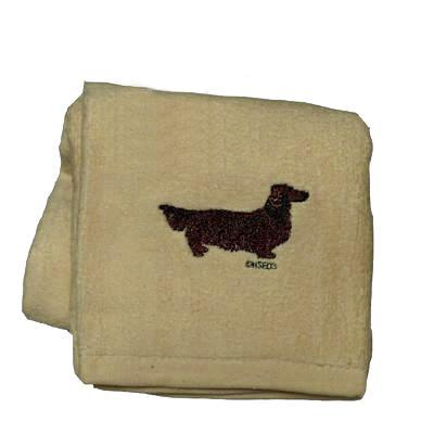 Cotton Terry Cloth Dog Hand Towel with Doxie Longhaired