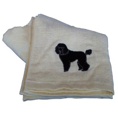 Cotton Terry Cloth Dog Hand Towel w/Embroidered Poodle Black