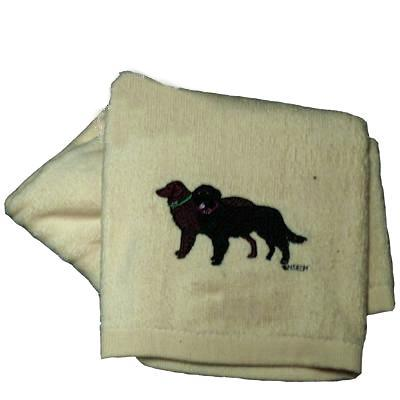Cotton Terry Cloth Dog Hand Towel with Flat Coat Retriever