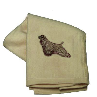 Cotton Terry Cloth Dog Hand Towel with Cocker Spaniel Buff