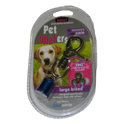 Flashing LED Pet Blinker Blue and White for Large Breeds