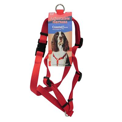 Adjustable Medium Dog Harness 3/4-inch Red Nylon