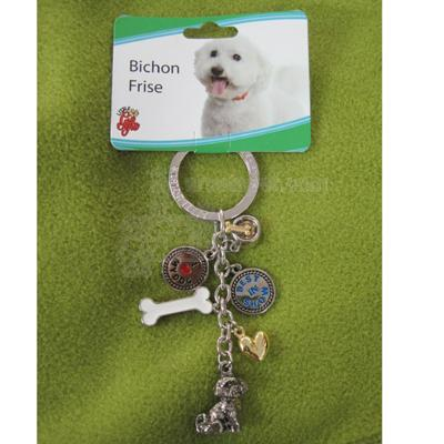 Key Chain Bichon Frise with 5 Charms