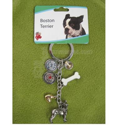 Key Chain Boston Terrier with 5 Charms