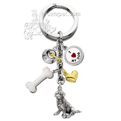 Key Chain Golden Retriever with 5 Charms