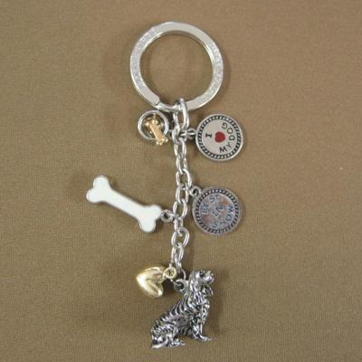 Key Chain King Charles Spaniel with 5 Charms