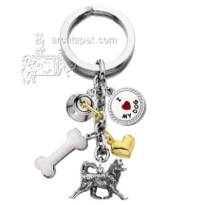 Key Chain Siberian Husky with 5 Charms