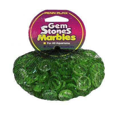 Gem Stones Flat Marbles Swirl Green/Clear Aquarium Decor
